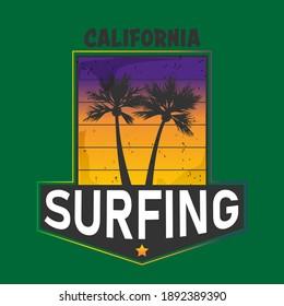 California surf typography, t-shirt graphics , vectors