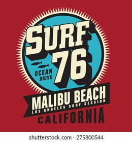 California surf typography, t-shirt graphics, vectors