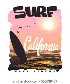 California surf typography, t-shirt graphics vectors.