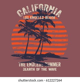 california surf typography, t-shirt graphics , vectors.palm tree silhouette