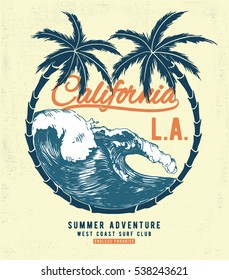 California Surf typography for t-shirt print , vector illustration