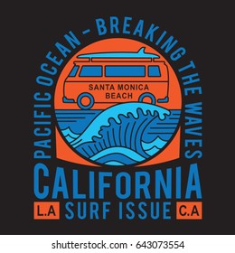California surf typography, van illustration, tee shirt graphics, vectors