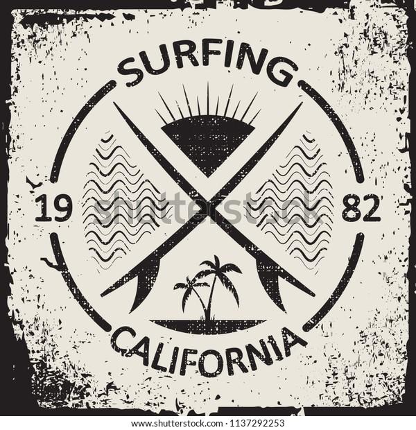 California Surf Wear Typography Emblem Surfing Stock Vector