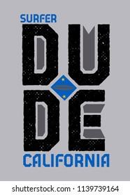 california surfer dude,t-shirt design