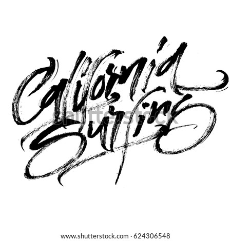 California Surfing Modern Calligraphy Hand Lettering Stock Vector