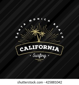California Surfing. Palms and sun design for t-shirt print, postcard or poster. Vector illustration.