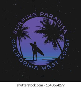 California surfing related trendy t-shirt apparel design. Surfer silhouette with board standing in the water of the beach at sunset. Vector illustration.