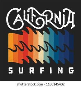 California Surfing Vintage Apparel Print Design. Retro Fashioned T Shirt Badge. Vector Illustration.