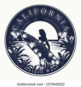 California. Tattoo and t-shirt design. Welcome to state of California,USA. Golden west slogan. Travel art concept