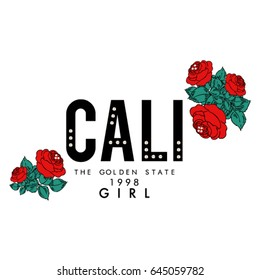 California text with red roses and crystal studs, fashion print in vector.