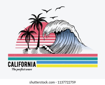California theme text with waves, palm trees, birds and sun vector illustrations. For t-shirt prints and other uses.