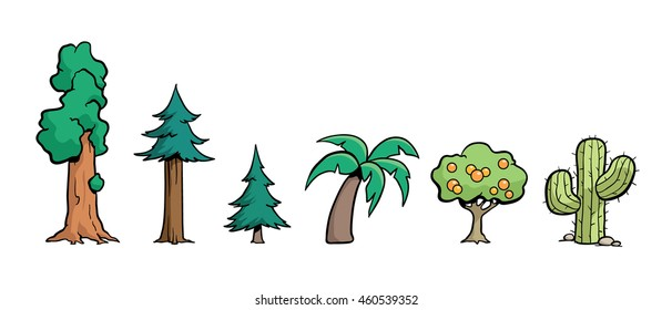 California Trees - a set of trees that might be found in California, including an old sequoia, a coastal redwood, a fir tree, a palm tree, a fruit tree, and a cactus.