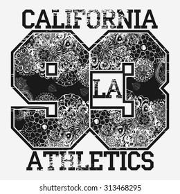 California T-shirt fashion Typography, Black and white Floral-grunge art design, sport emblem, Number with floral ornament, graphic Print label