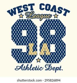 California T-shirt fashion Typography label, sport emblem design, Los Angeles graphic Print - vector illustration
