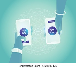 CALIFORNIA, UNITED STATES - JUNE 18, 2019: Libra blockchain in purple coin  transfer and pay via mobile phones. Libra is a well-known new digital currency that developed by Facebook.