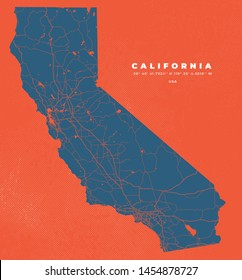 California USA Map Road Poster Vector halftone textures abstract