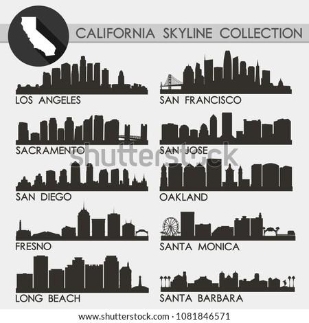California USA Skyline Silhouette