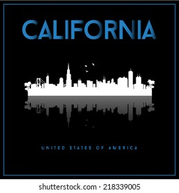 California, USA skyline silhouette vector design on black background.