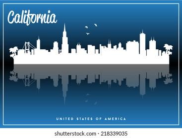 California, USA skyline silhouette vector design on parliament blue background.