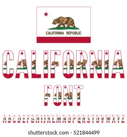 California USA state flag font. Alphabet characters stylized by state flag. Vector typeset