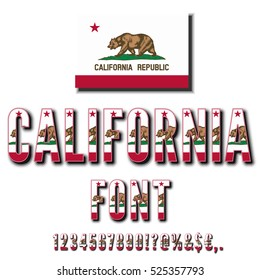 California USA state flag font. Numbers and symbols stylized by state flag. Vector typeset