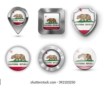 California USA State Metal and Glass Flag Badges, Buttons, Map marker pin and Shields. Vector illustrations
