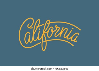 California USA State Word Logo Hand Painted Brush Lettering Calligraphy Logo Template