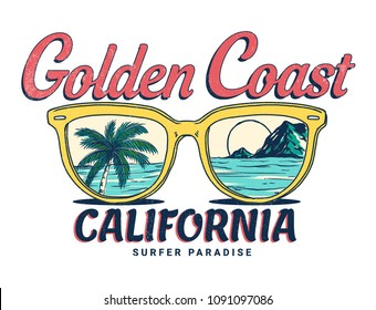 California vector illustration, for t-shirt print and other uses.