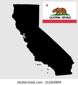 California vector map and vector flag isolated on background. High detailed illustration.
