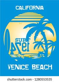 CALIFORNIA VENICE BEACH stock vector illustration/t shirt typography design graphy/print shirt