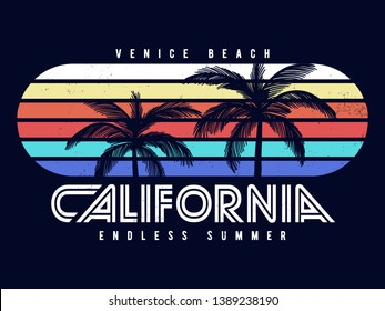 California Venice beach text with palms vector illustrations. For t-shirt prints and other uses.