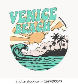 California Venice beach typography, tee shirt graphics, vectors