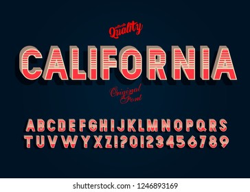 """California"" Vintage 3D Alphabet. Retro Typeface. Vector Font Illustration."