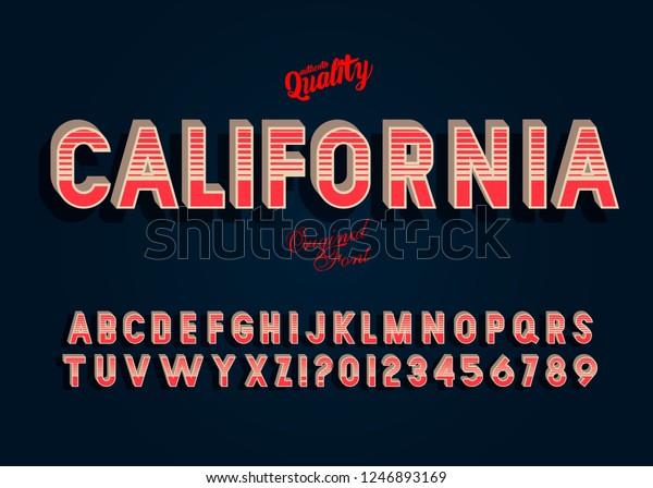 California Vintage 3d Alphabet Retro Typeface Stock Vector