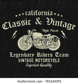 California vintage motorcycle, legendary riders team, classic and vintage typography, t-shirt graphics, vectors