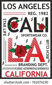 California wild rose graphic design vector art
