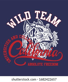 california wild team tiger vector art