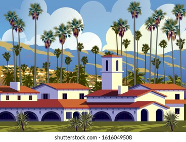 Californian cityscape with palm trees, houses and mountains in the background.  Handmade drawing vector illustration. Retro style Poster.