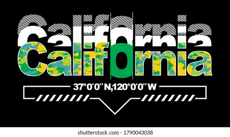 California.Vintage and typography design in vector illustration.Clothing,apparel and other uses.Eps10