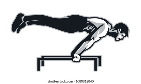 Calisthenic Athlete do Planche : Layered Vector Illustration - Easy to Edit