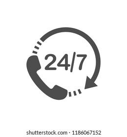 Call 24 icon. Vector illustration, flat design.