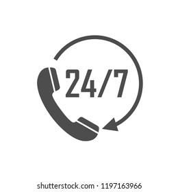 Call 24 icon. Vector illustration, flat design.