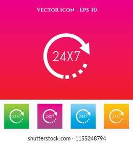 Call 24X7 Icon in Colored Square box. eps-10