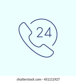 Call 24X7 Line icon. Eps-10.