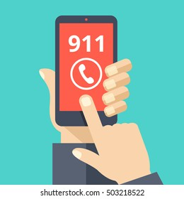 Call 911, emergency call concept. Hand holding smartphone, finger touching call button. Modern flat design vector illustration