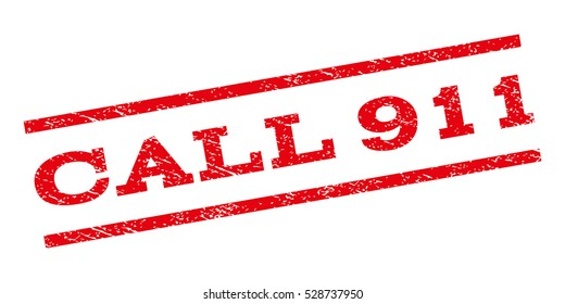 Call 911 watermark stamp. Text caption between parallel lines with grunge design style. Rubber seal stamp with unclean texture. Vector red color ink imprint on a white background.
