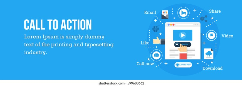 Call to action button on a web page flat vector concept with icons