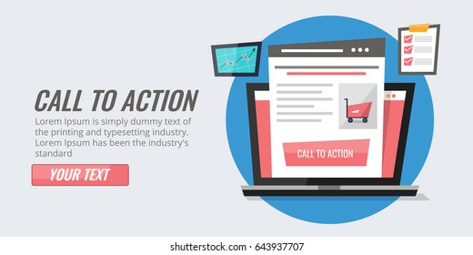 Call to action button, website landing page. Flat vector concept isolated on light background
