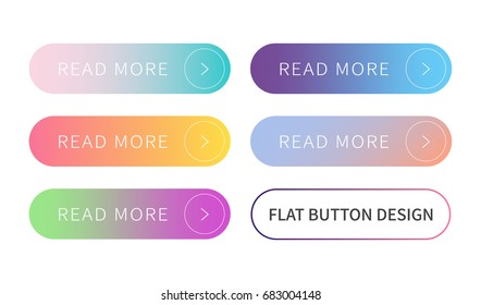 Call to action buttons set flat design ; Read more Button.Vector illustration buttons with colorful gradient or color transition for your brilliant Web button, mobile devices, icons, banner & more.