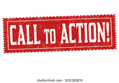 Call to action grunge rubber stamp on white background, vector illustration